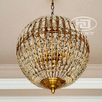 Retro Creative Luxury American Wrought Iron Globe K9 Crystal Ball Hotel Bedroom Pendant Lighting