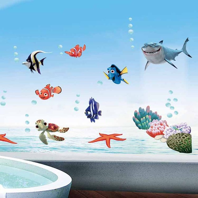 Finding Nemo Removable 3d Wallpaper On Tile Bathroom Decor Decoration Wall Stickers For Bathroom Wall Decals