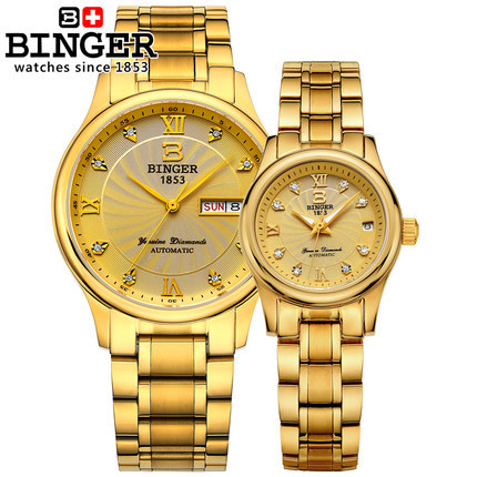 2016 Brand Binger Lover s Wristwatches Automatic lover Gold watch Pair Love Gifts Luxury Original Box