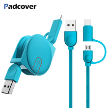 PADCOVER 2 in 1 Micro USB Type C for Samsung S8 S9 plus Oneplus 6 Cable IPhone XS MAX X IPad 7 8 Retractable Charge