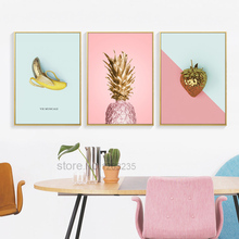 Yellow Pink Pineapple Nordic Poster Gold Fruit Posters Wall Art Canvas Painting Picture Pictures For Living Room Unframed