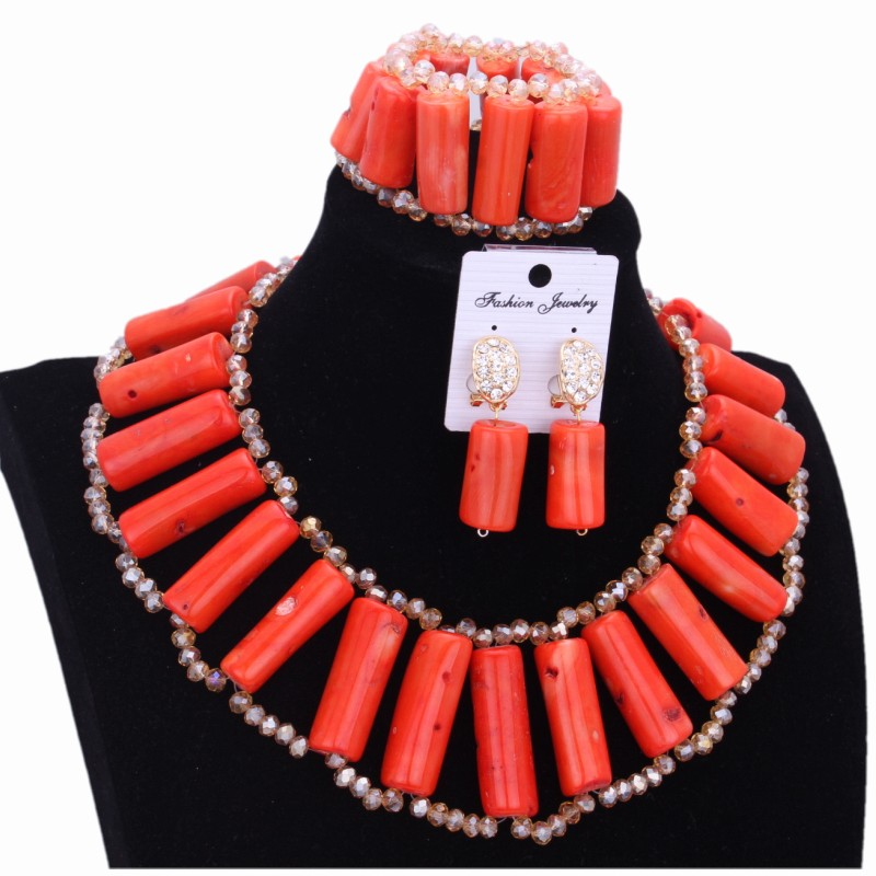 цена на Original African Coral Beads Jewelry Sets Nigerian Wedding Orange Bridal Jewelry Sets For Women Free Shipping Free Shipping 2018