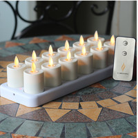 12pcs Luminara Rechargeable Tea Light Flameless LED Candles Light Votive Moving Wick Candle lamp home decor with timer
