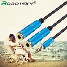 Robotsky Universial 3.5mm Headphone Audio Splitter 1 Male to 2 Female Audio Adapter for Headset Smartphone Laptop