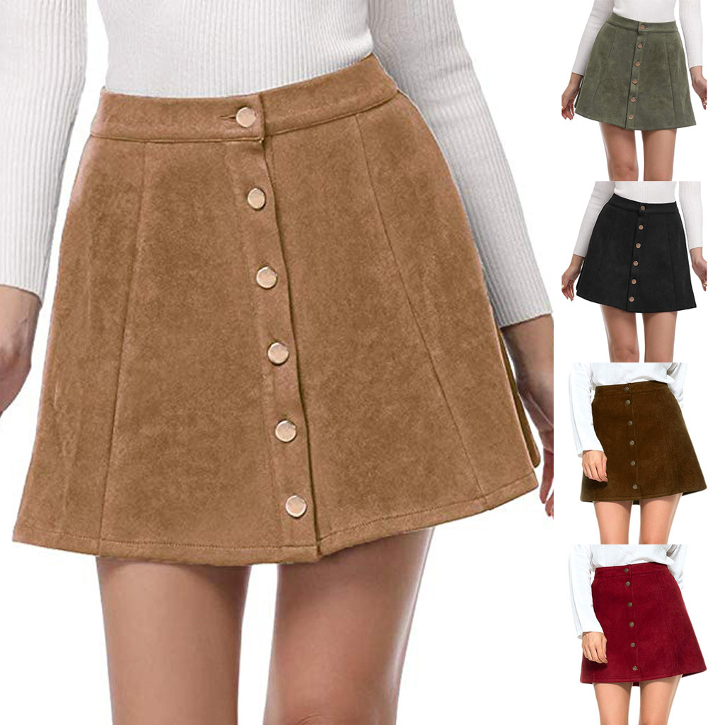 Vintage  Apparel suede leather women 90s short skirt Winter high waist casual 4.11