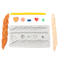 Knitting Texture Heart Lace Shape Silicone Fondant Mold Cake Chocolate Clay Gumpaste Mold Kitchen Sugar Border