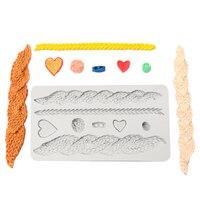 Breien Textuur Hart Kant Vorm Siliconen Mal Fondant Cake Chocolade Klei Gumpaste Mold Keuken Suiker Grens Bakken Tool