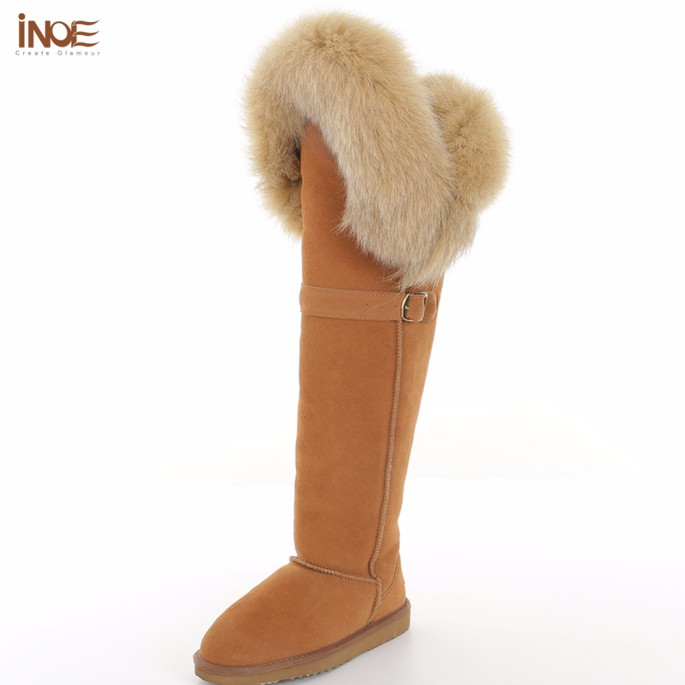 INOE Fashion Cow Suede Leather Real Fox Fur Boots With Buckle Over The Knee Long Winter Sued Snow Boots For Women Winter Shoes