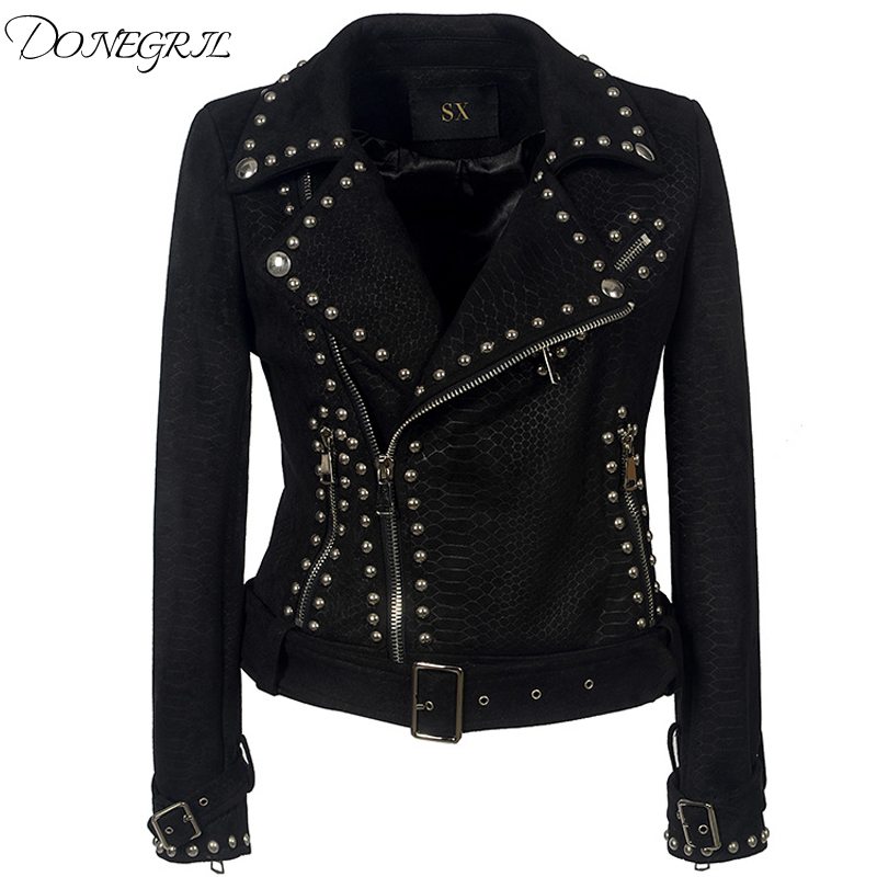 2019 spring and autumn lapel zipper PU   leather   punk rivet deer velvet jacket female motorcycle clothing