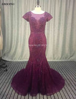 Real Photo Purple Lace Beaded Mermaid Mother Of Bride Dresses 2017 Floor length Robe de Soiree Formal Special Occasion Gowns