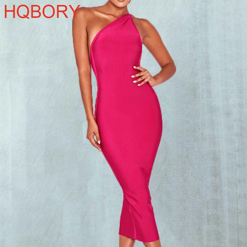 Rosa caliente un hombro Sexy de señora de las mujeres es más parte 2018 de la longitud de la rodilla elástico vestido Bodycon vendaje