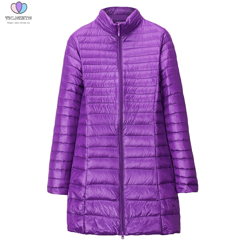 2019 Plus Size 7XL Women Light Down Jacket High-end Fashion Winter White Duck Down Jacket Casual Outerwear Long Warm Jacket Coat