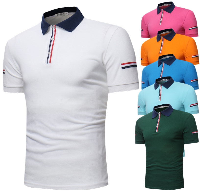 POLO   shirt men's summer cotton high-grade short-sleeved solid color large size Slim casual overalls multi-color top size S-3XL