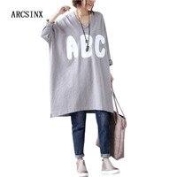 ARCSINX Oversized T shirt Women 8XL 7XL 6XL 5XL 4XL 3XL Long Sleeve T shirt Women Plus Size Korean Tshirt Long Women T Shirts