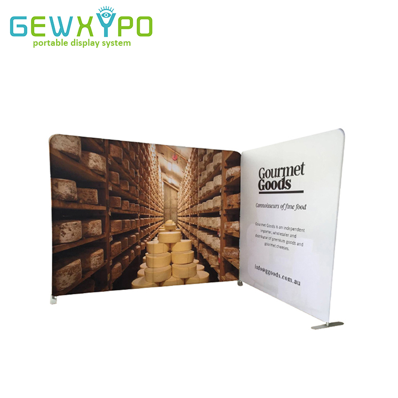 10ft And 6.5ft Width Two Straight Tension Fabric Backwall Stand With Graphic Printing,Trade Show Booth Portable Pop Up Banner