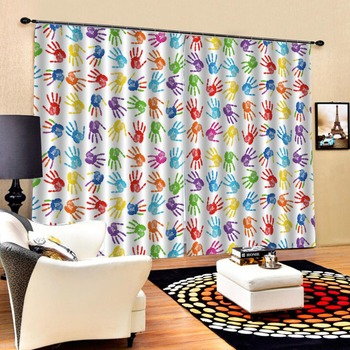 any size cortinas blackout Handprint curtains Living room window curtains kids bedroom black out window curtains