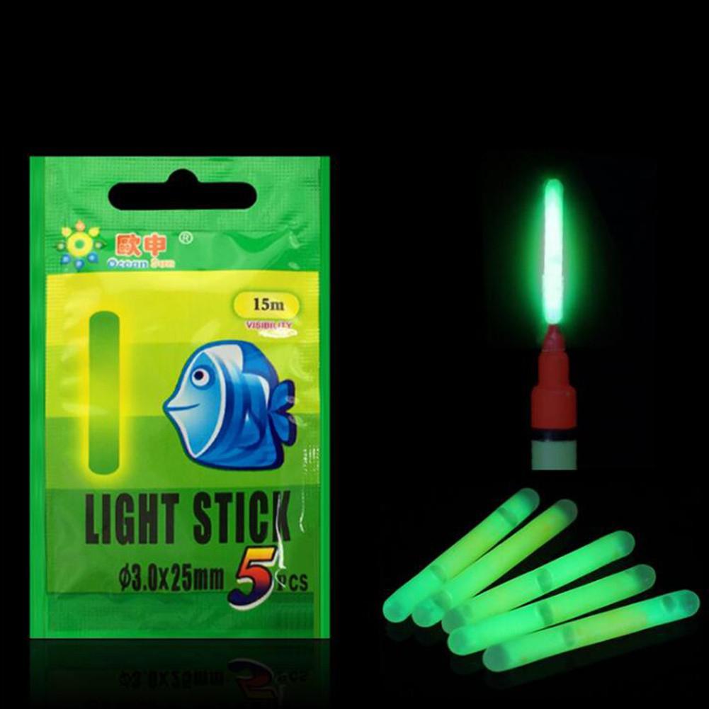 Dragonpad 5pcs/Bag 3.0*25MM Night Fishing Luminous Float Fluorescent Light Stick Rod Fishing Tools Range 15M