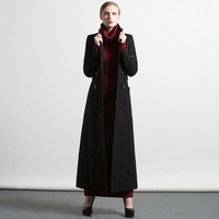 New Fashion S XXXL Autumn Winter Embroidery Black Long Coat Florals Plus Size Luxury Trench Women Muslim Outwear 6254