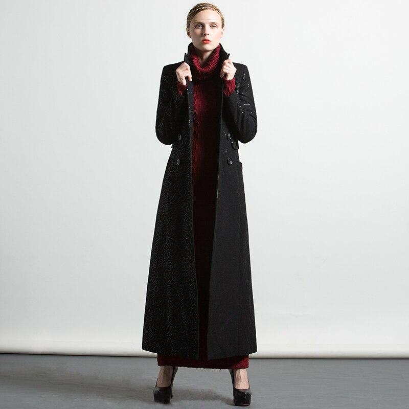 Femmes Long xxxl Mode Tranchée 6254 Luxe Outwear Plus Floral S Noir Hiver Musulman La Broderie Manteau Nouveau Automne Taille De dxaE0wqxf