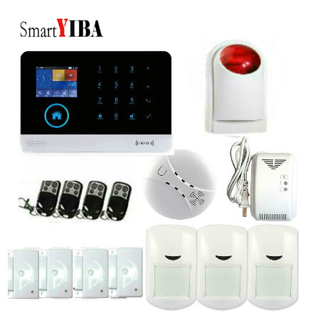 SmartYIBA Android IOS App Control Fire Alarm Wireless Gas Detector Wireless Home Security WIFI GSM GPRS Alarm system Kits smartyiba wifi gsm gprs intelligent home security alarm system kits remote voice control support ios android system app remote