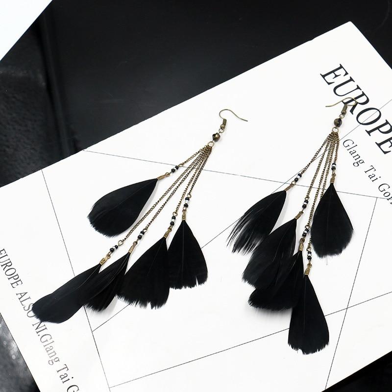 TopHanqi 2018 Oorbellen Bohemia Feather Earrings Female Jewelry Gift Black Fashion Long Tassel Drop Ethnic Earrings For Women(China)