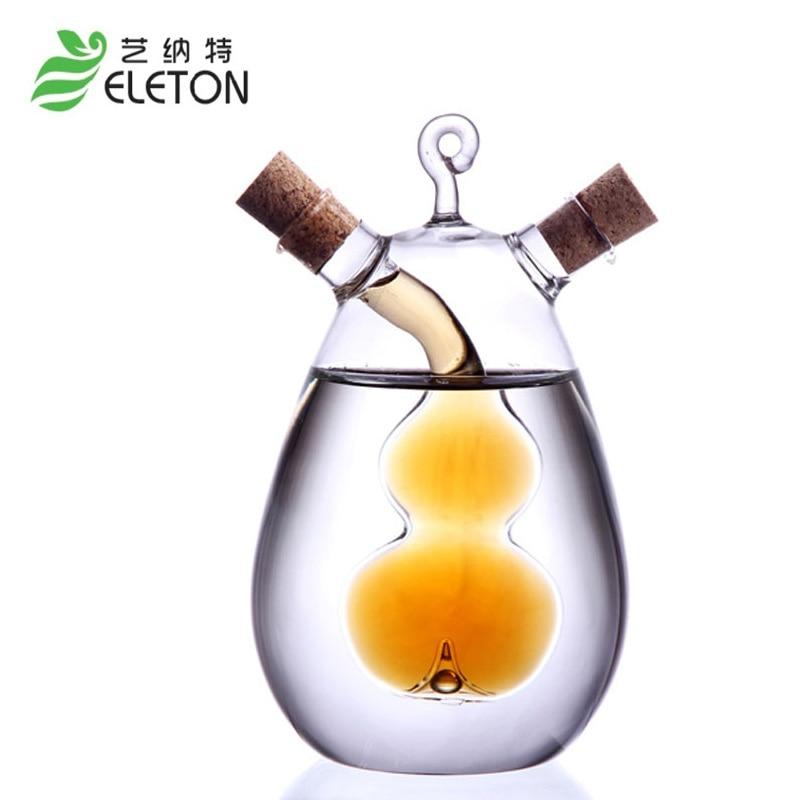 Articole de bucătărie Ulei creativ și oțet Cruet Sos de soia Sticlă de oțet cu 2 prize Butelie condimentată Sticlă Sticlă de ulei de măsline