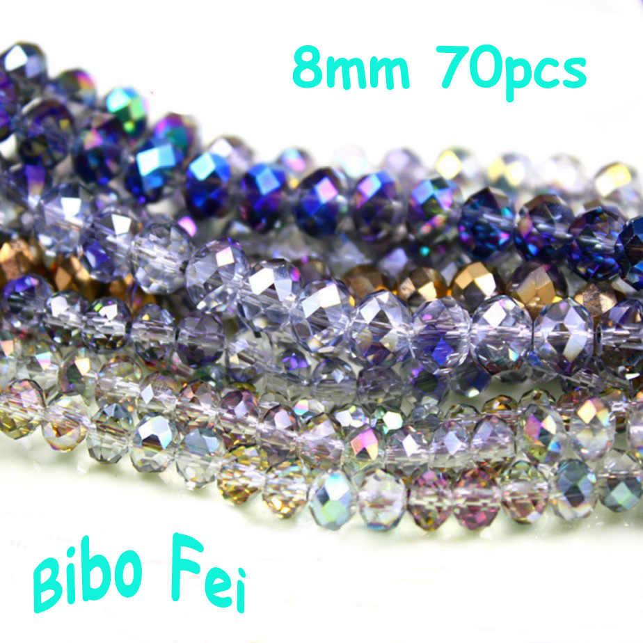 משלוח חינם רב צבע 8mm 70 PCS זכוכית צ 'כי קריסטל חרוזים, גלגל חרוזים, מעבר חרוזים, צמיד שרשרת תכשיטי ביצוע DIY