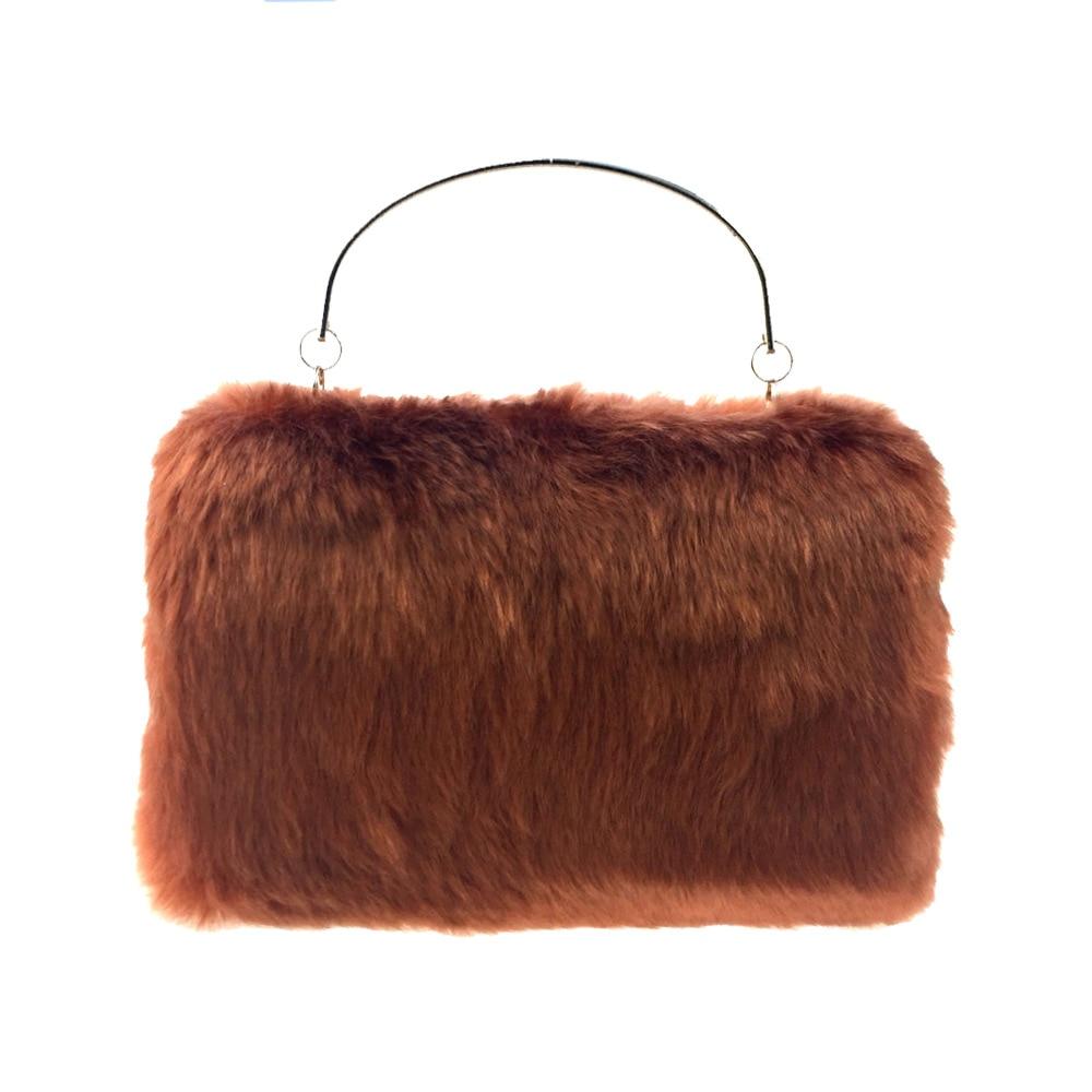 Winter Women Faux Fur Handbag Bag for Party, Flap Handbags for Cool Girls Fashionable Celebrity Temperament Female Bag delicate faux fur dot mini bag shape keyring for women