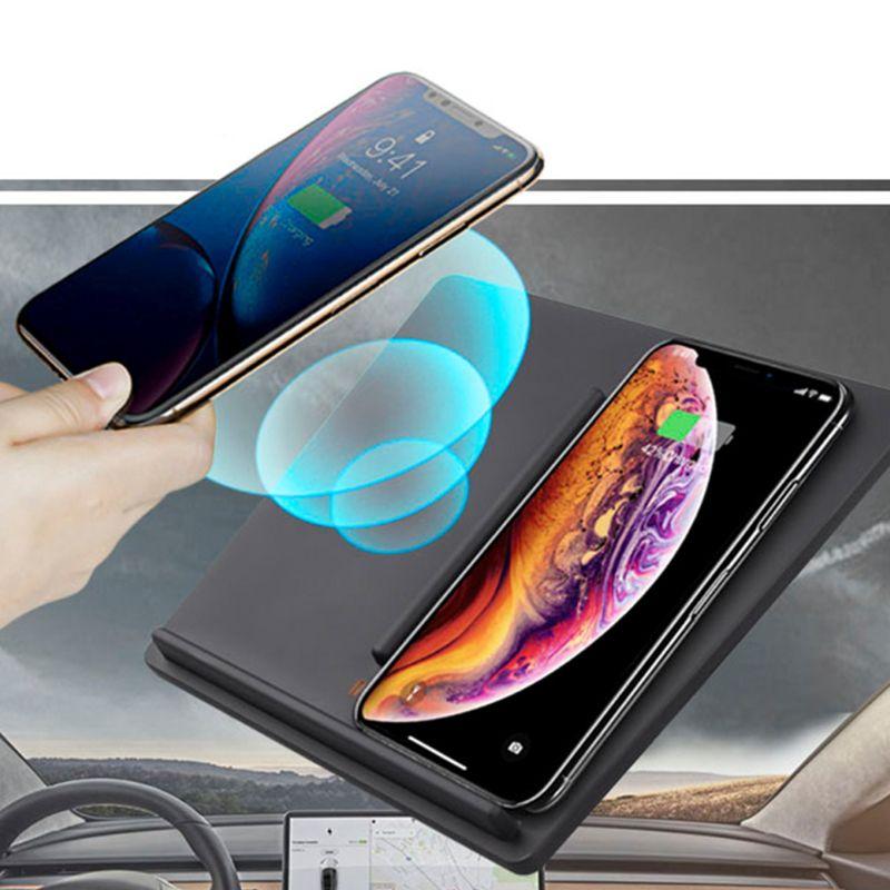 Chargeur chargeur sans fil avec deux Ports USB pour Tesla modèle 3 Center double chargeur Mobile pour tous les téléphones compatibles Qi