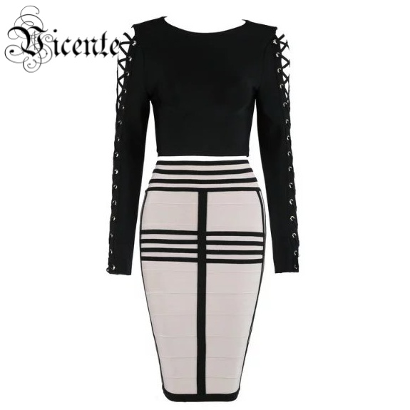 Vicente HOT 2018 New Chic Inspired Lace Up Sleeves Geometric Bottom Two Pieces Set Celebrity Wholesale Party Bandage Dress
