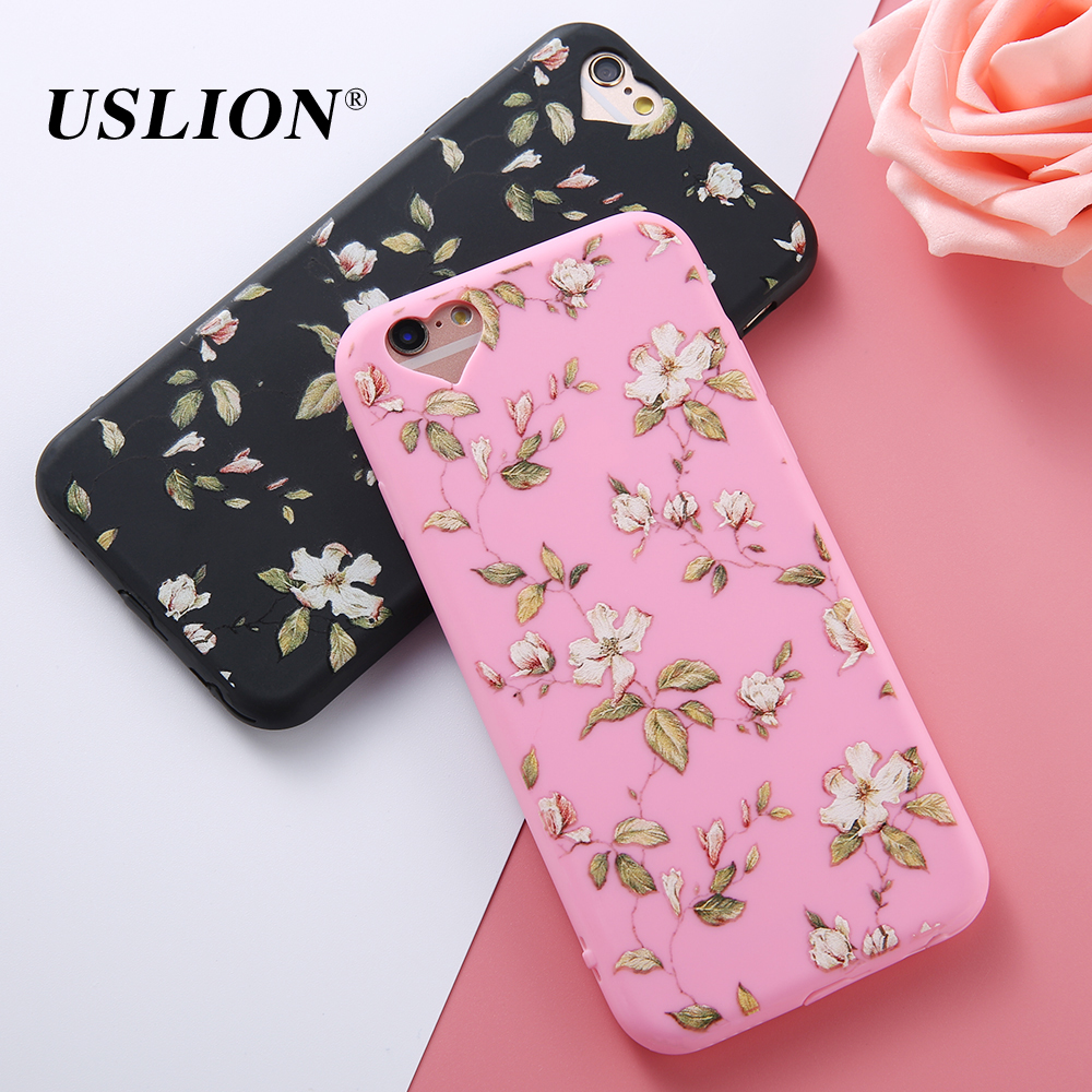 For iPhone 5 5s SE 6 6s 7 7 Plus Phone Case Love Heart Retro Flower Green Leaves Soft TPU Phone Back Cover Cases for iphone 7
