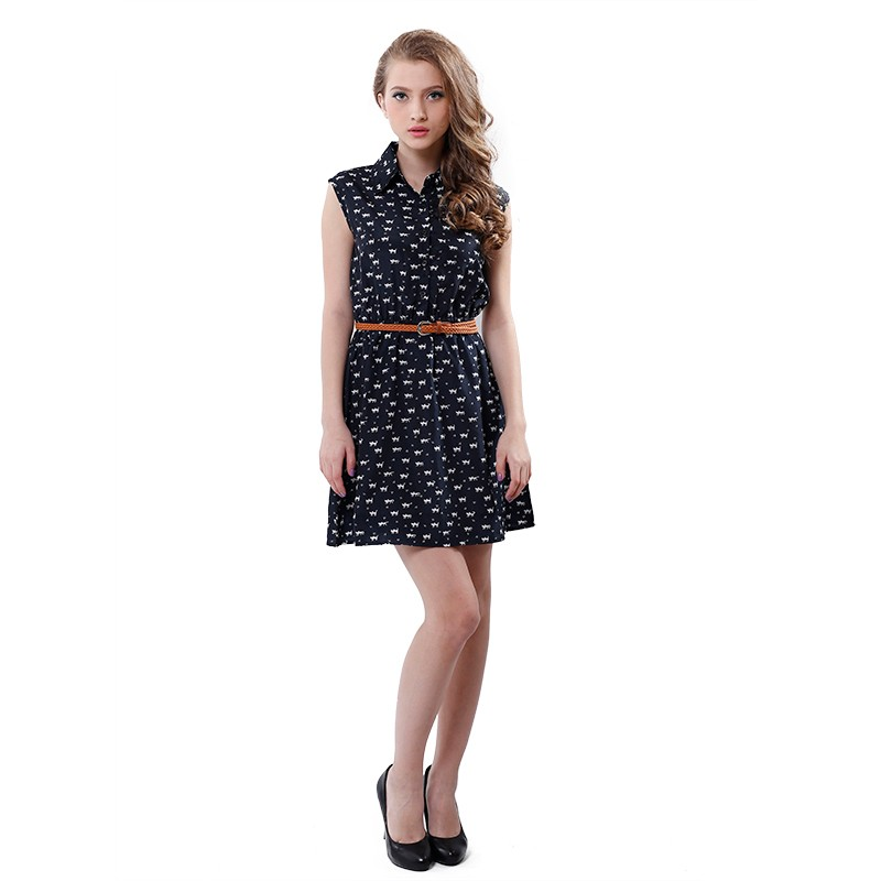 Softu Hot Sale Women's Fashion Summer Casual Shirts Dress Sleeveless Tank Knee Length A Line Dress Cat Printed Dresses With Belt 4