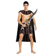 Carnival Ancient Roman Greek Soldier Gladiator Costumes Leather Spartan Warrior Costume for Adult Men Women Couple Halloween