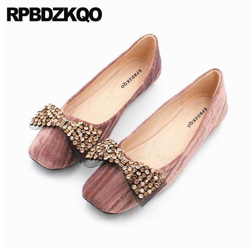 ballet big bow ladies women dress shoes designer black diamond square toe wedding pink crystal ballerina china flats rhinestone