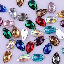 Teardrop Форма пришить стразы с двумя отверстиями три Размеры! Flatback Смола кристаллы Камни DIY Drop 12 Цветов смешанные Цвет