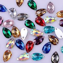 Shiny Clear Crystal AB Teardrop Flatback Sew On Resin Rhinestones With Two Holes Sewing Garment Crystals DIY Sew-on Stones