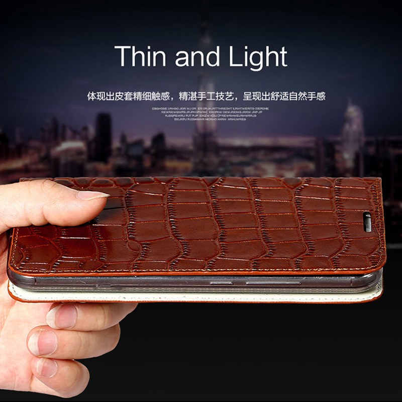wangcangli brand phone case genuine leather crocodile Flat texture phone case For Huawei Honor V9play handmade phone case in Flip Cases from Cellphones Telecommunications