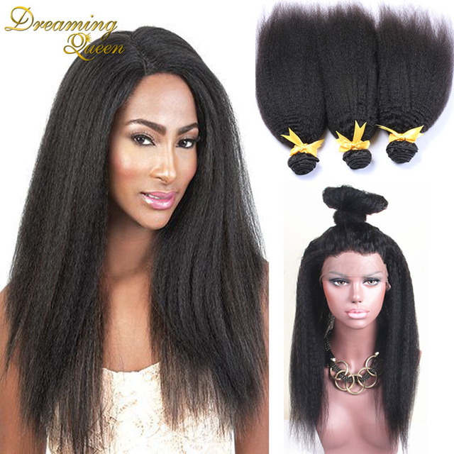 New Arrive Mongolian Kinky Straight With 360 Closure 360 Lace Frontal With Bundles Coarse Yaki Lace Frontal Closure With Bundles