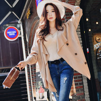 Dabuwawa Spring New Double Breasted Casual Thin Trench Outwear Women Office Lady 2019 Long Sleeve Elegant Windbreaker DN1ATC008
