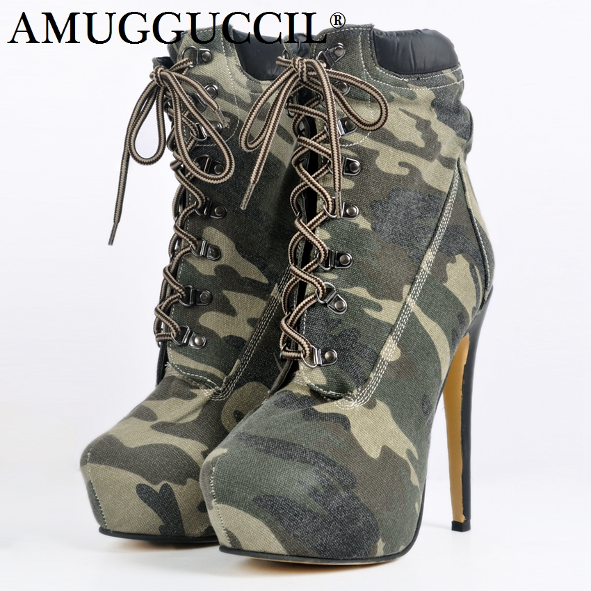2018 New Plus Big Size 34-52 Camouflage Lace Up Fashion High Heel Platform Females Girl Lady Mid Calf Autumn Women Boots X1666 stayer 37552
