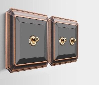 Interruptor de pared negro antiguo tipo 86 interruptor de palanca Retro 1 banda 2 bandas 3 bandas 4 bandas 2 vías 10A 110 V-250 V Panel de madera palanca de latón