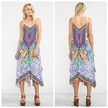 Handkerchief Dress 2016 summer boho Flower print long dress one pieces backless cross women maxi dress vestidos JealousFT031