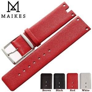 Image 5 - Maikes 새로운 도착 정품 가죽 시계 밴드 스트랩 블랙 화이트 소프트 내구성 시계 밴드 케이스 ck calvin klein k94231