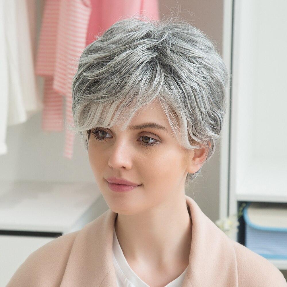 Блондинка Единорог 8 дюймов короткие прямые волосы парик пушистые Многослойные волосы с боковой челкой Ombre серый выделяет смесь парик