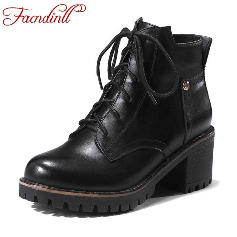 FACNDINLL New brand shoes spring autumn women boots platform high-heels thick heel lacing black casual shoes woman ankle boots new spring autumn women boots black high heels thick heel boots lace up platform ankle boots large size 34 43