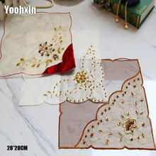 Tea Coaster Place-Table-Mat Sequin European Cloth-Pad Doilies Cup Embroidery Dining-Dish