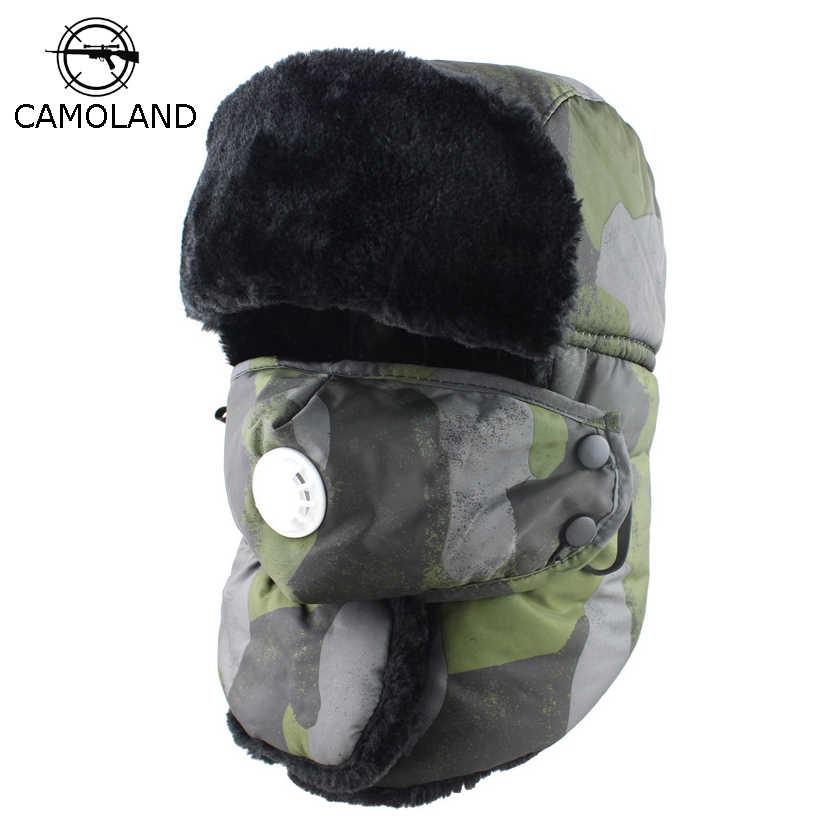 Hombres Mujeres Ushanka impermeable bombardero sombrero con Anti-haze  máscara ruso invierno sombrero Trooper termal ac4d0a1daa6