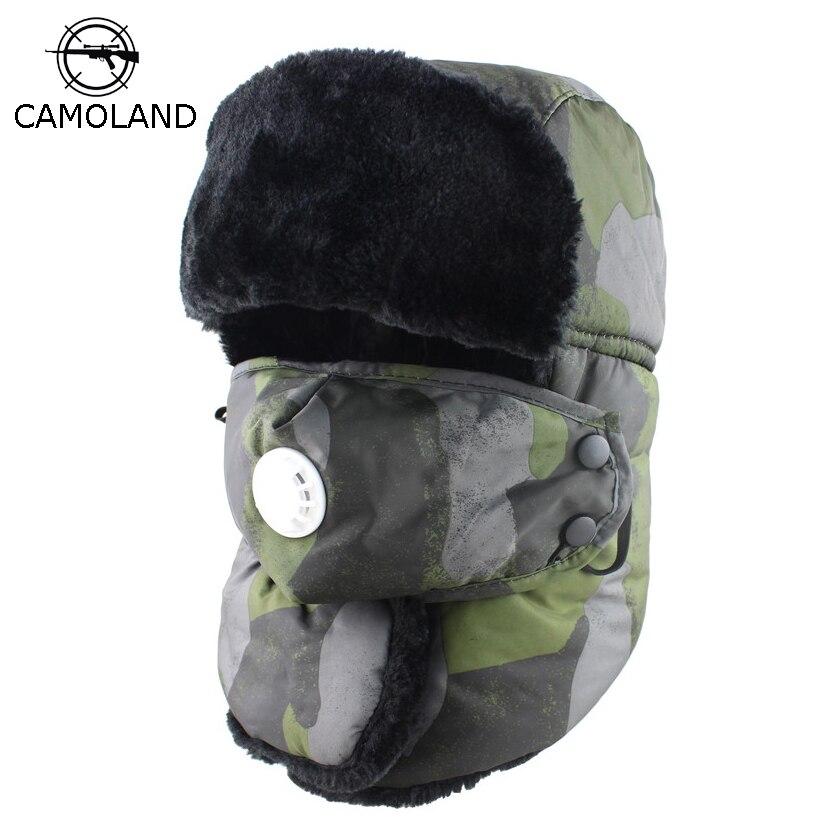b9886d5bdb2 Men Women Ushanka Waterproof Bomber Hat with Anti-haze Mask Russian Winter  Hat Thermal Trooper Trapper Hat Earflap Snow Ski Hat