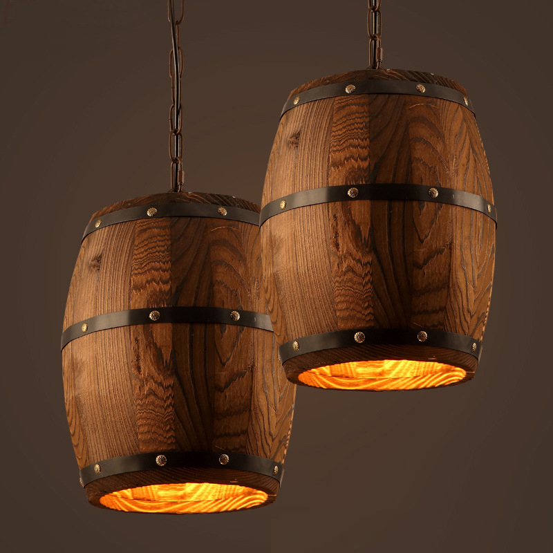 American country loft wood Wine barrel hanging Fixture ceiling pendant lamp E27 light for bar cafe living dining room restaurant loft hanging lamps industrial living room kitchen restaurant cafe dining room aisle study bar iron chandelier pendant lamp light