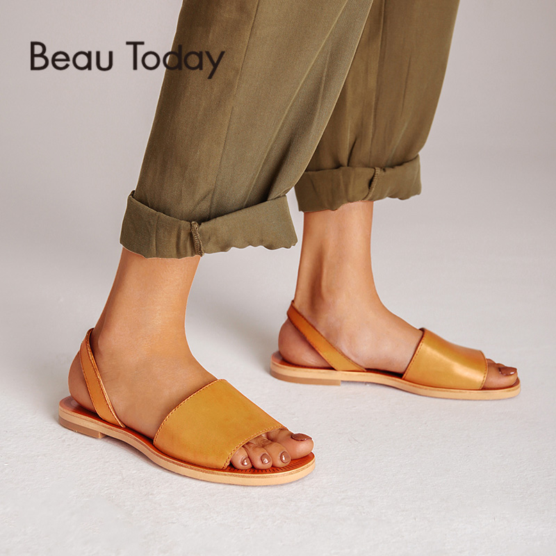 BeauToday Summer Sandals Women Genuine Cow Leather Female Gladiator Slingback Strap Flat Heel Shoes Handmade 32032